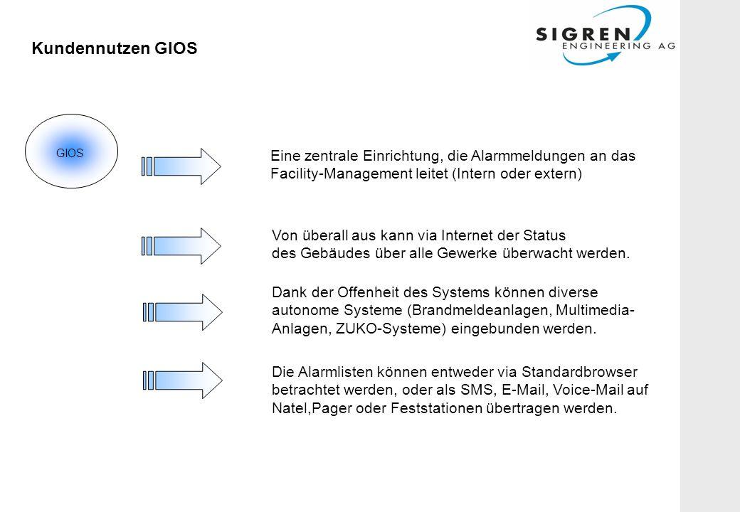Kundennutzen GIOS Eine zentrale Einrichtung, die Alarmmeldungen an das