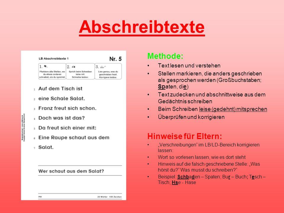 Abschreibtexte Methode: Hinweise für Eltern: Text lesen und verstehen