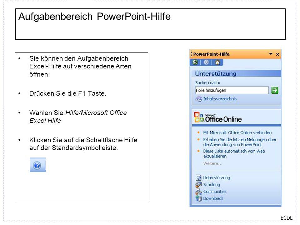 Aufgabenbereich PowerPoint-Hilfe