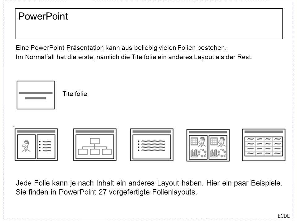 PowerPoint Eine PowerPoint-Präsentation kann aus beliebig vielen Folien bestehen.