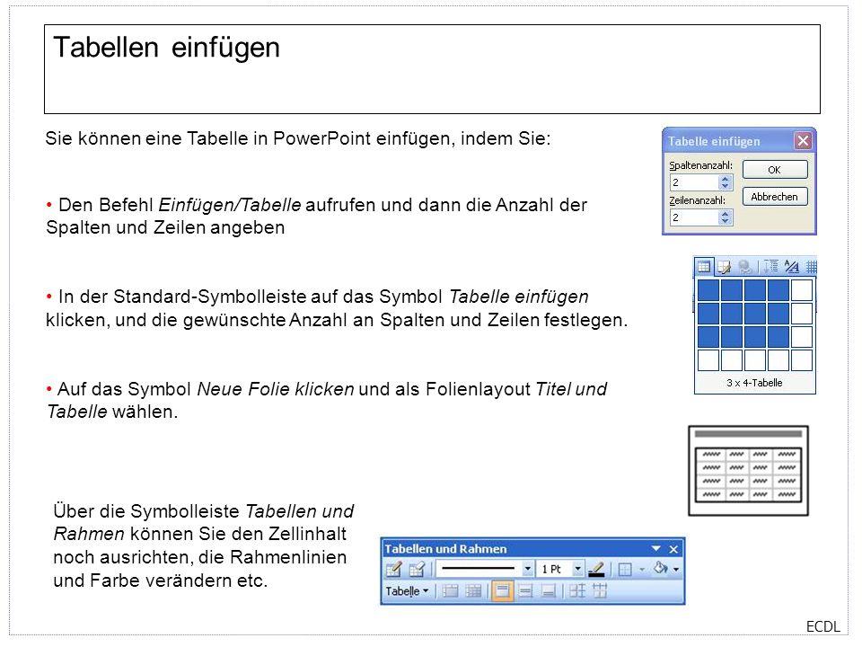 Tabellen einfügen Sie können eine Tabelle in PowerPoint einfügen, indem Sie: