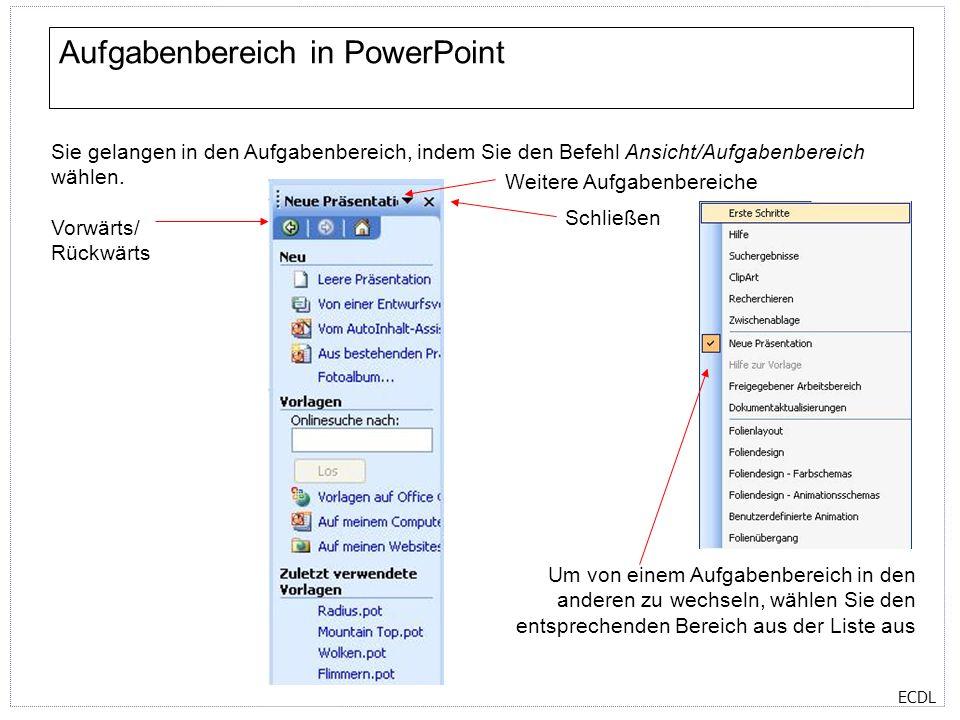 Aufgabenbereich in PowerPoint