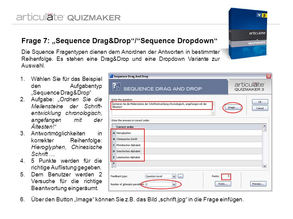 "Frage 7: ""Sequence Drag&Drop / Sequence Dropdown"