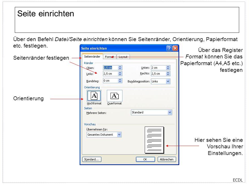 Seite einrichten Über den Befehl Datei/Seite einrichten können Sie Seitenränder, Orientierung, Papierformat etc. festlegen.