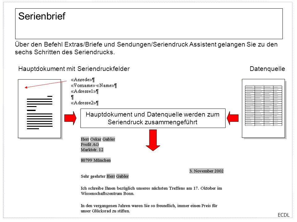 Hauptdokument und Datenquelle werden zum Seriendruck zusammengeführt