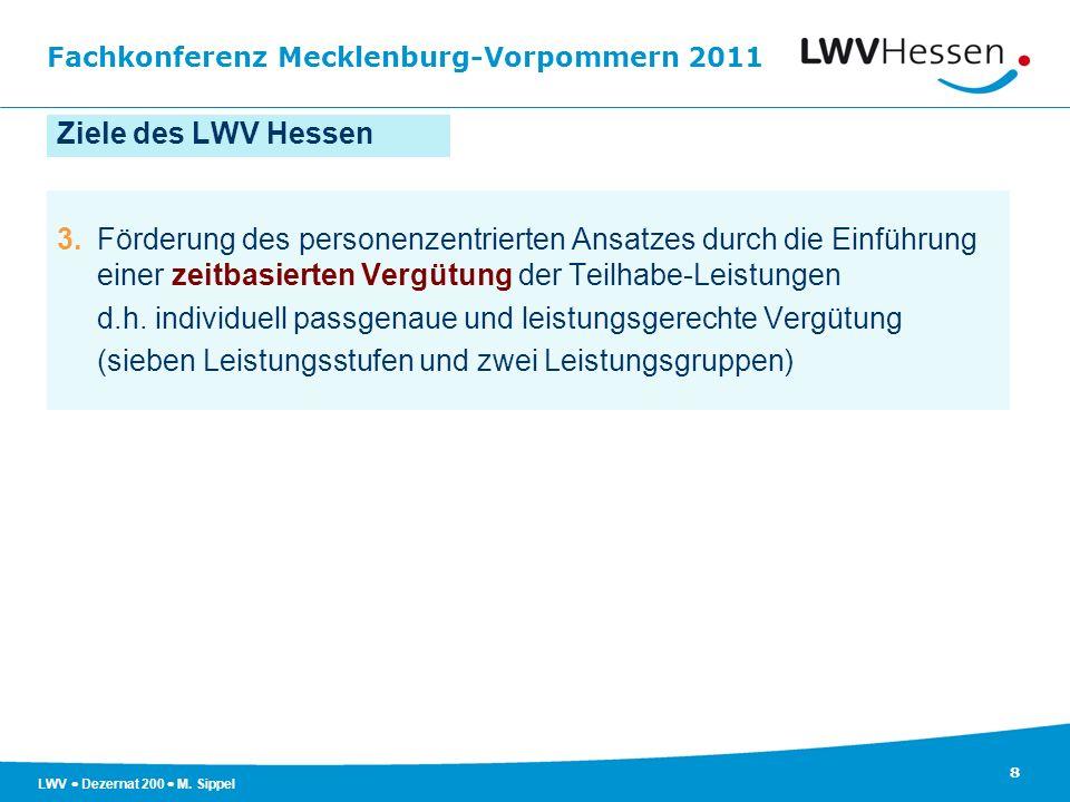 Ziele des LWV Hessen 3. Förderung des personenzentrierten Ansatzes durch die Einführung einer zeitbasierten Vergütung der Teilhabe-Leistungen.