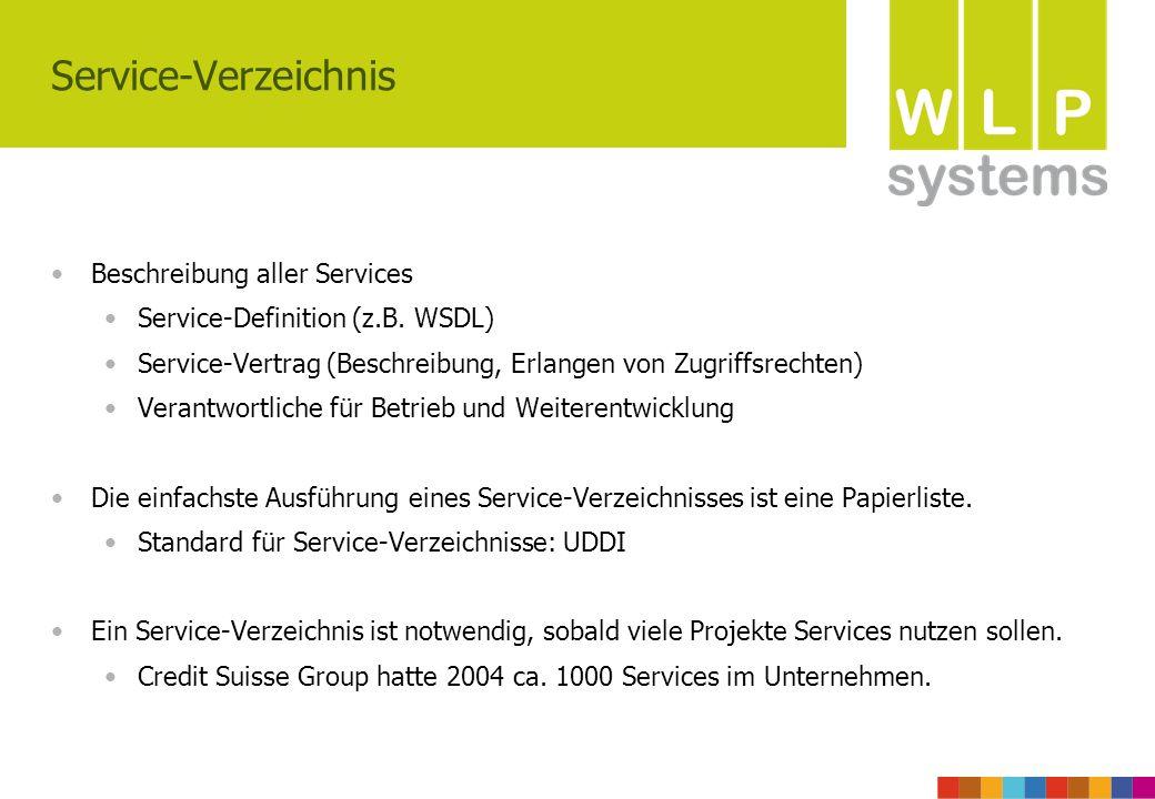 Service-Verzeichnis Beschreibung aller Services