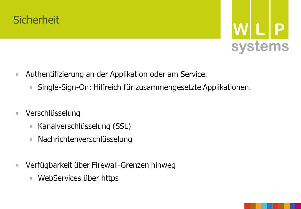 Sicherheit Authentifizierung an der Applikation oder am Service.