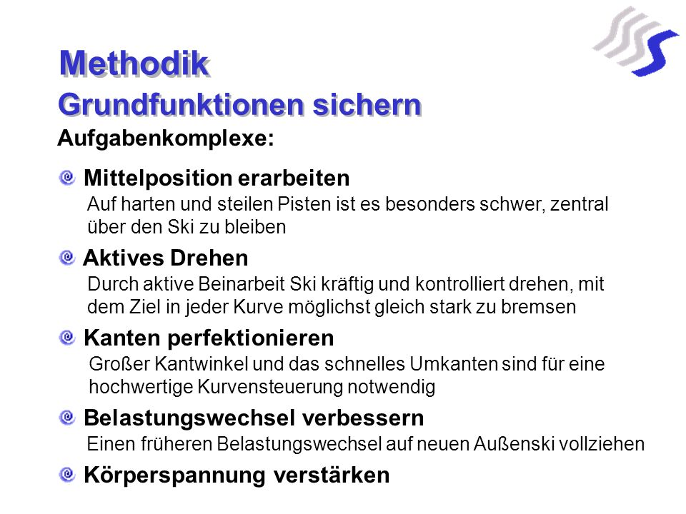 Methodik Grundfunktionen sichern Aufgabenkomplexe: