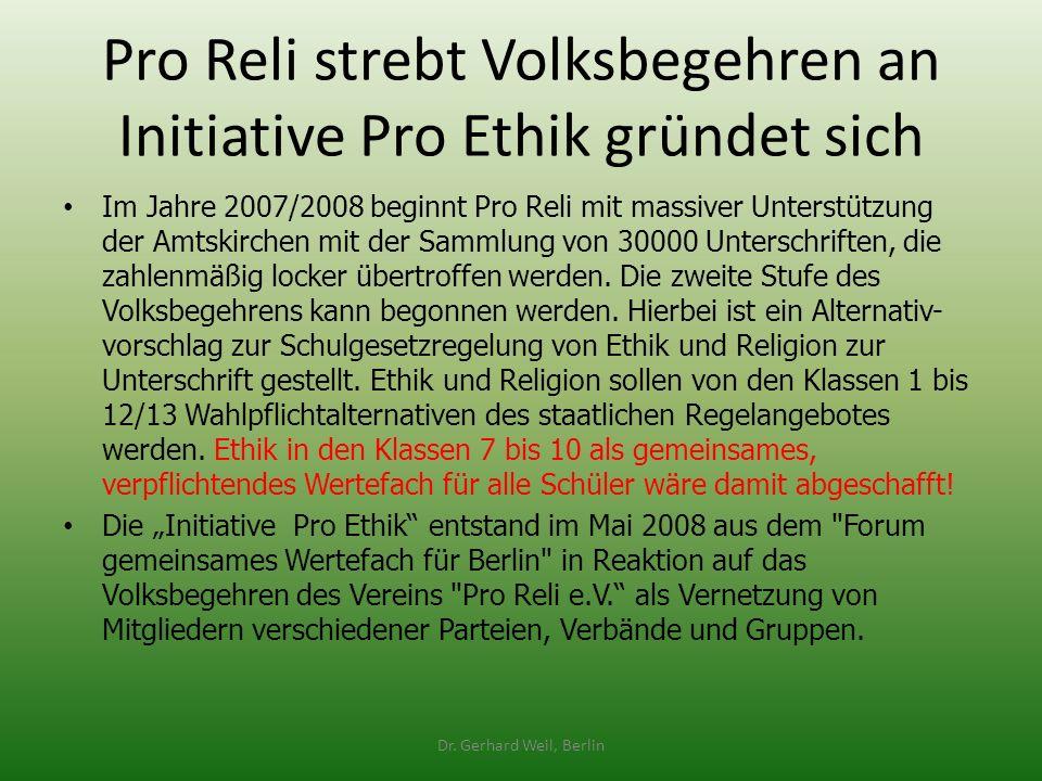 Pro Reli strebt Volksbegehren an Initiative Pro Ethik gründet sich