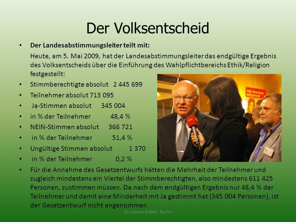 Der Volksentscheid Der Landesabstimmungsleiter teilt mit: