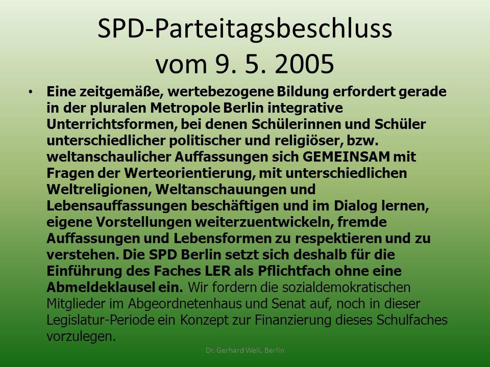 SPD-Parteitagsbeschluss vom 9. 5. 2005