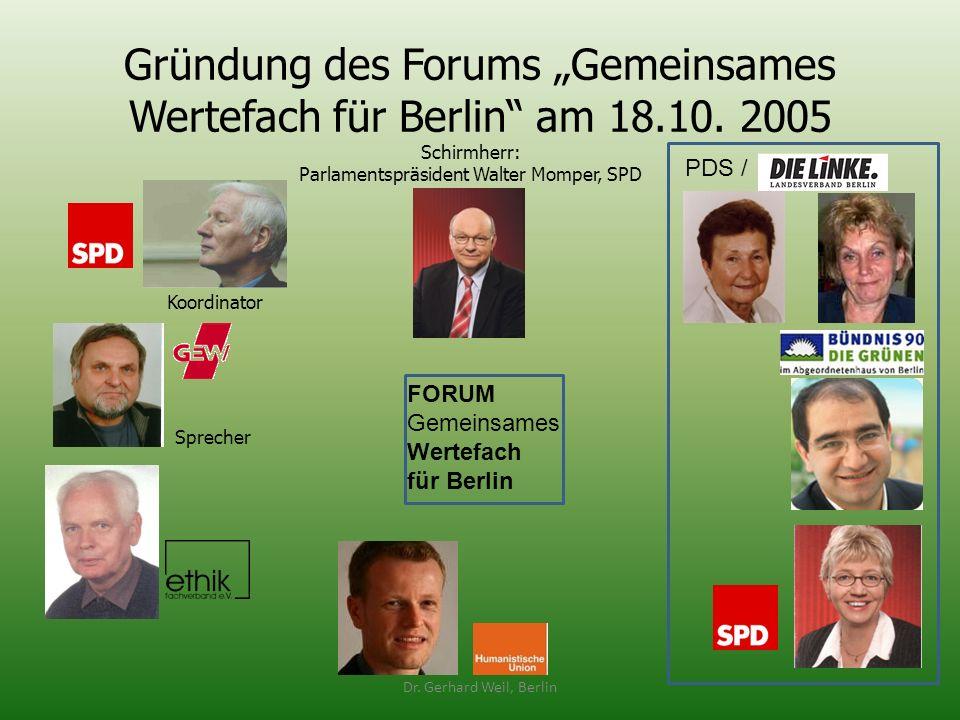 """Gründung des Forums """"Gemeinsames Wertefach für Berlin am 18.10. 2005"""