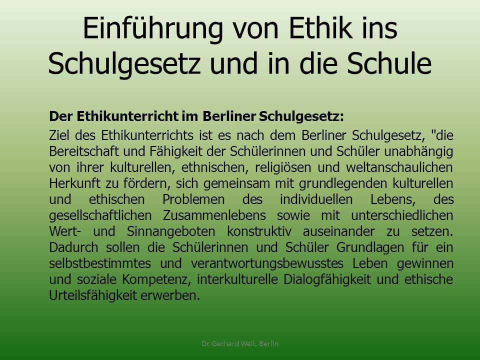 Einführung von Ethik ins Schulgesetz und in die Schule