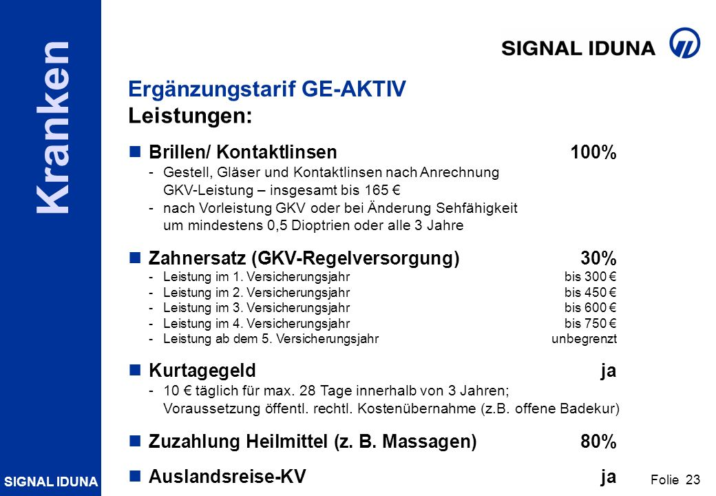 Ergänzungstarif GE-AKTIV Leistungen: