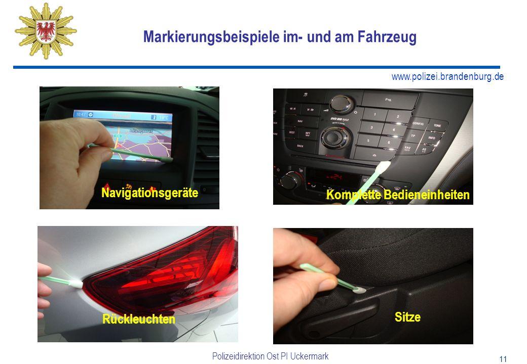 Markierungsbeispiele im- und am Fahrzeug