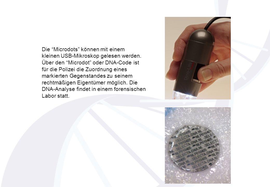 Die Microdots können mit einem kleinen USB-Mikroskop gelesen werden.