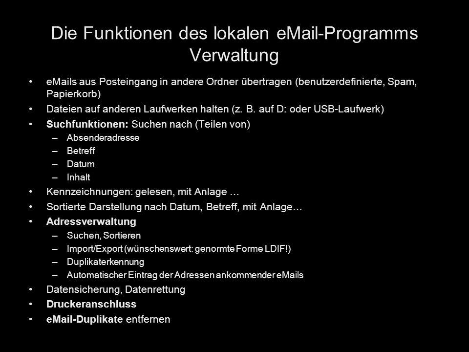 Die Funktionen des lokalen eMail-Programms Verwaltung