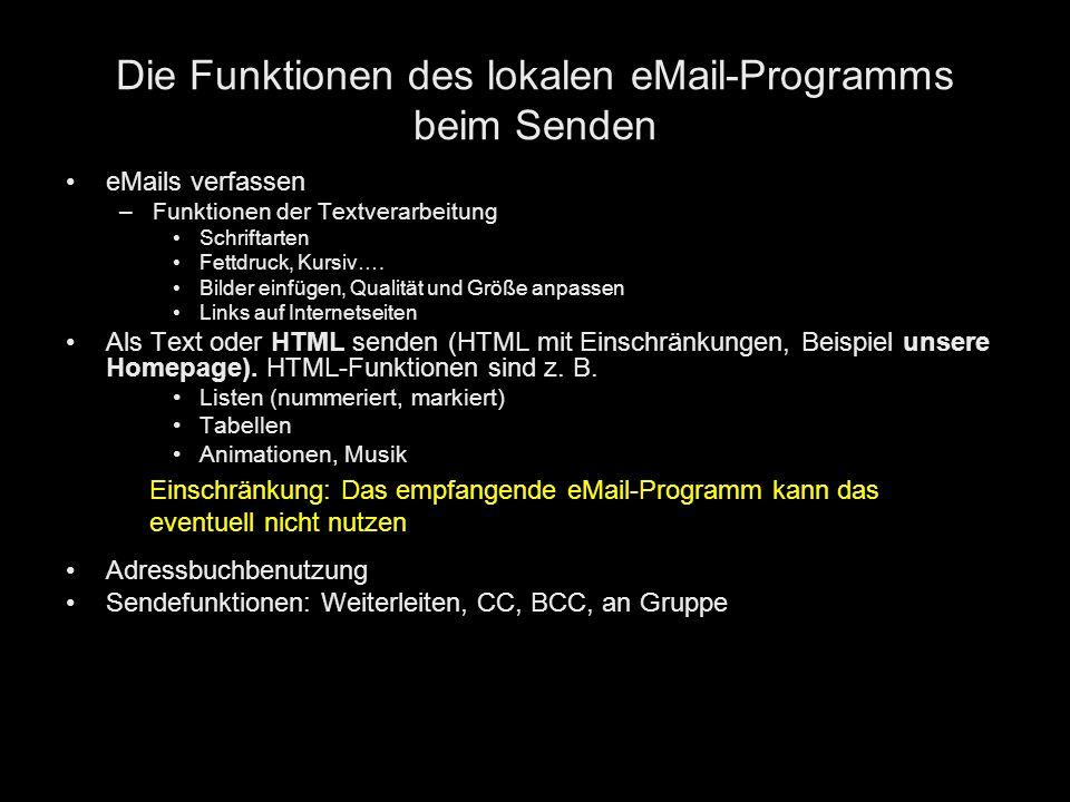 Die Funktionen des lokalen eMail-Programms beim Senden