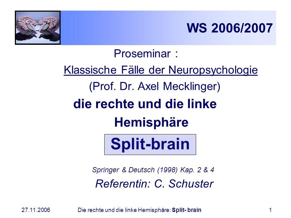 WS 2006/2007 Hemisphäre Split-brain Proseminar :