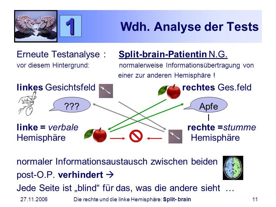 Wdh. Analyse der TestsErneute Testanalyse : Split-brain-Patientin N.G.