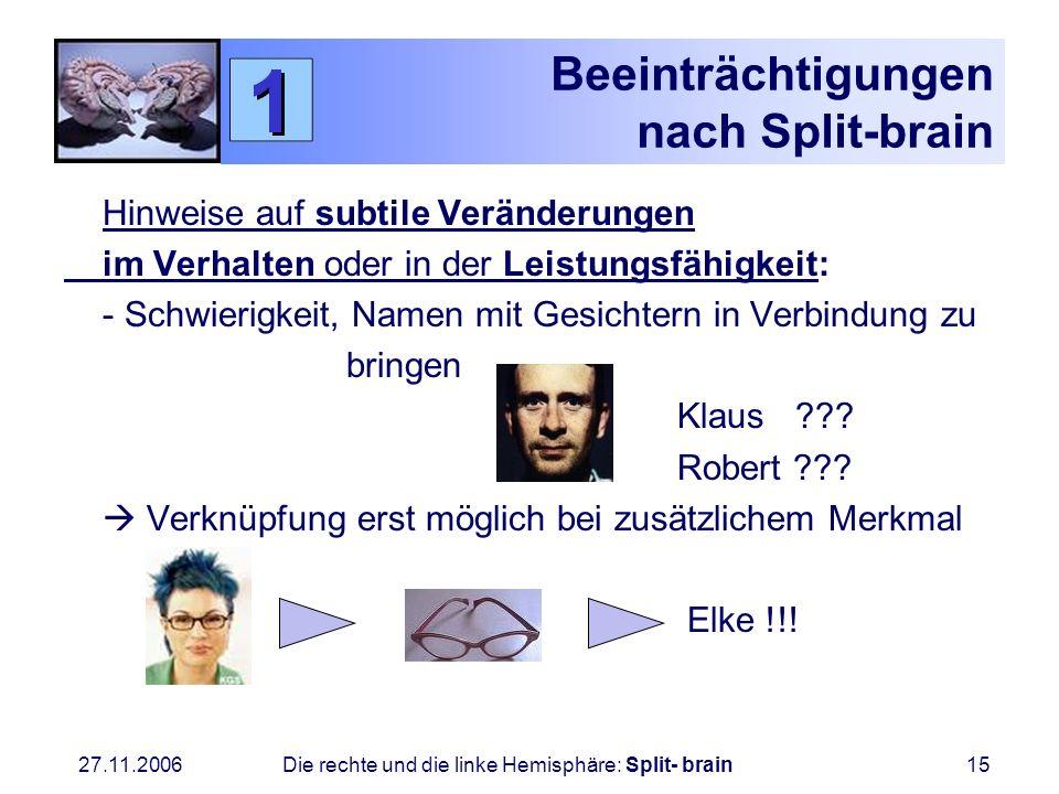 Beeinträchtigungen nach Split-brain
