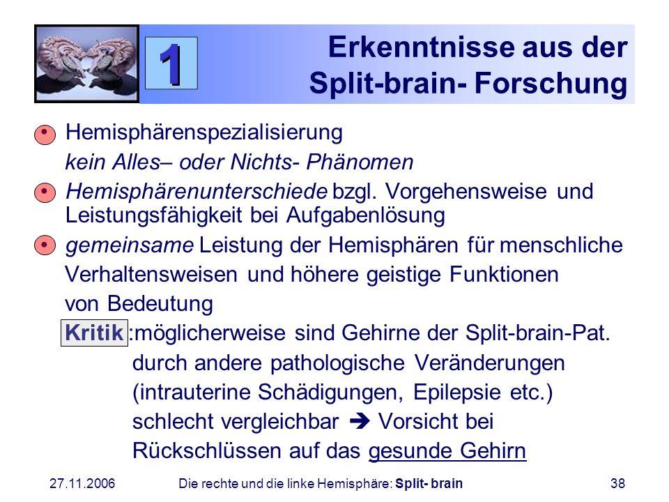 Erkenntnisse aus der Split-brain- Forschung