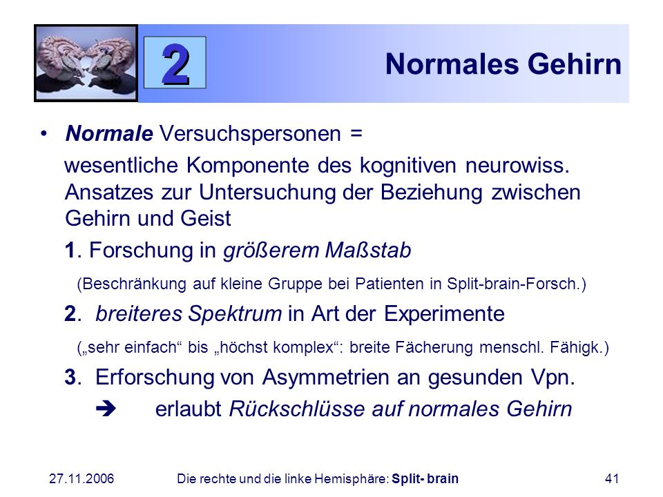 Normales Gehirn Normale Versuchspersonen =
