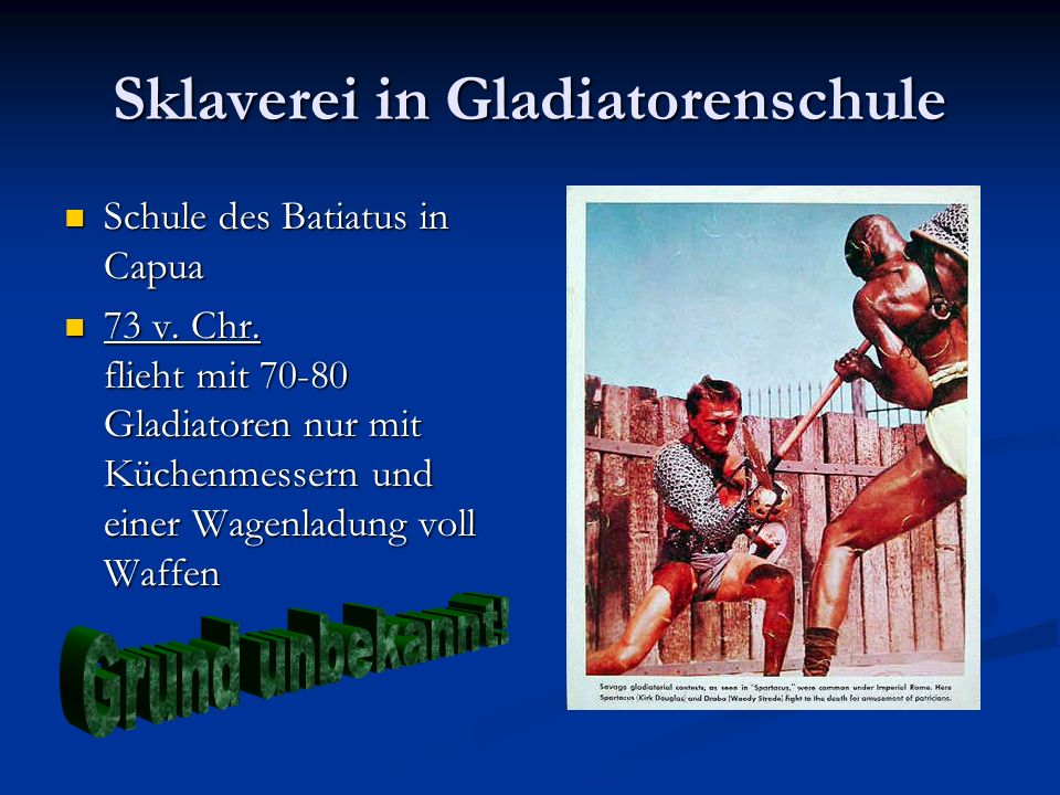 Sklaverei in Gladiatorenschule
