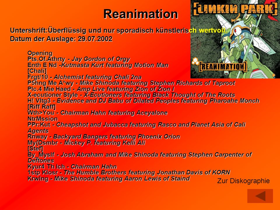 ReanimationUntershrift:Überflüssig und nur sporadisch künstlerisch wertvoll. Datum der Auslage: 29.07.2002.
