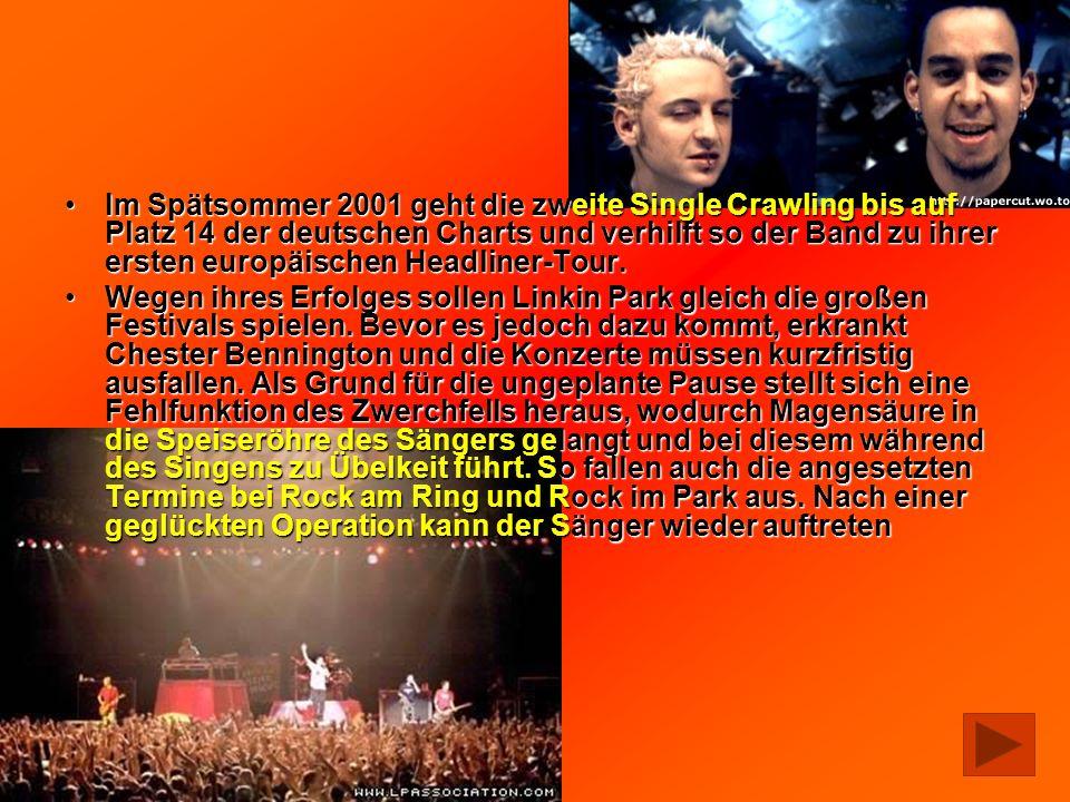 Im Spätsommer 2001 geht die zweite Single Crawling bis auf Platz 14 der deutschen Charts und verhilft so der Band zu ihrer ersten europäischen Headliner-Tour.