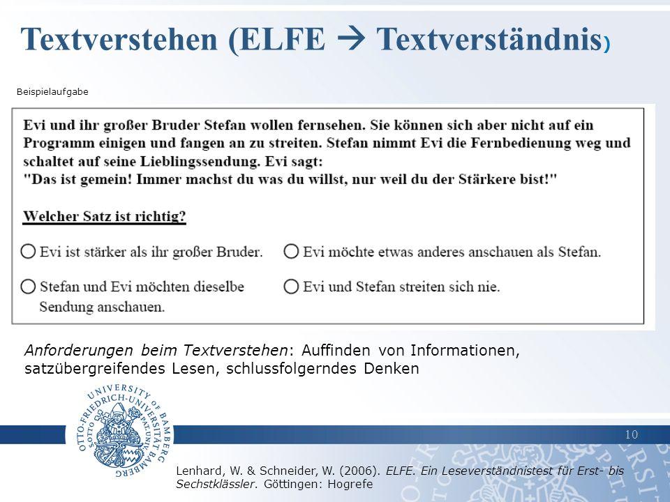 Textverstehen (ELFE  Textverständnis)