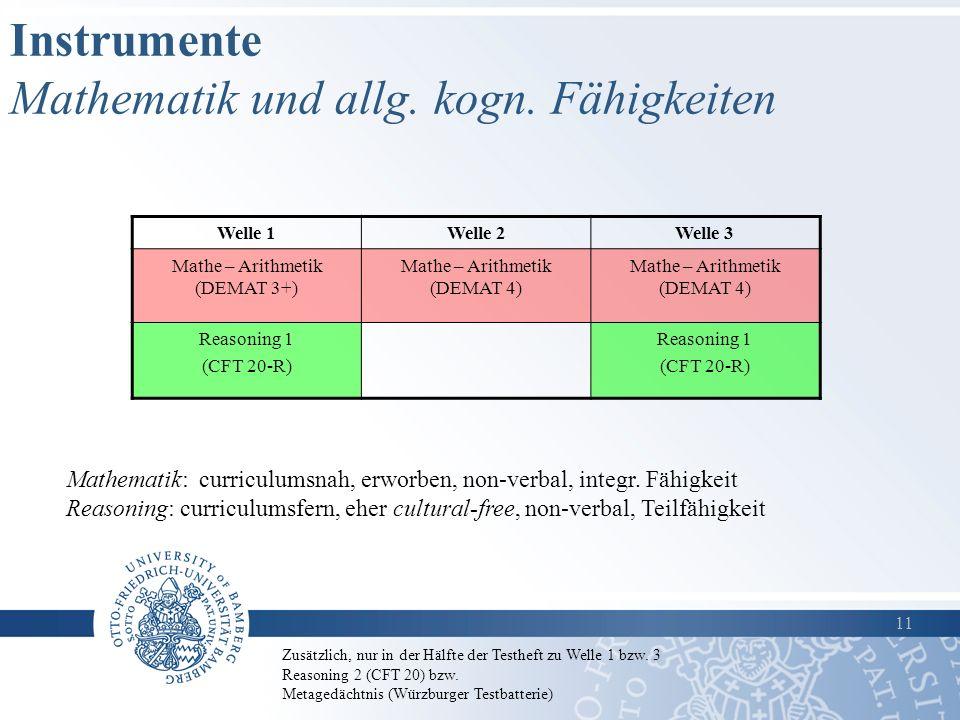 Instrumente Mathematik und allg. kogn. Fähigkeiten