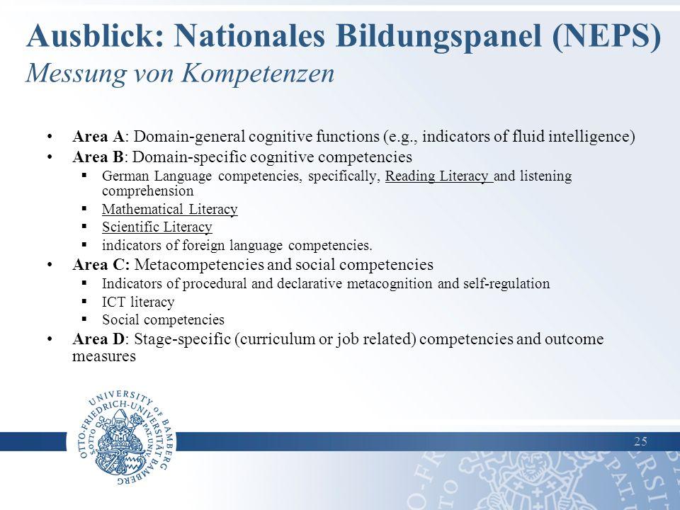 Ausblick: Nationales Bildungspanel (NEPS) Messung von Kompetenzen