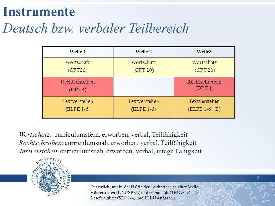 Instrumente Deutsch bzw. verbaler Teilbereich