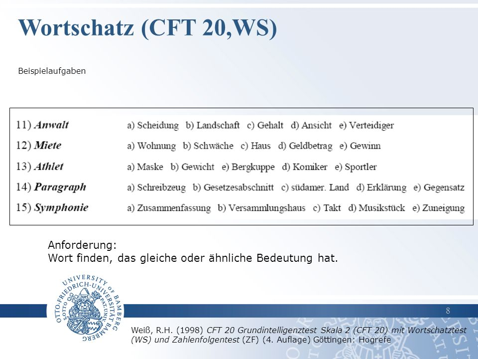 Wortschatz (CFT 20,WS) Anforderung: