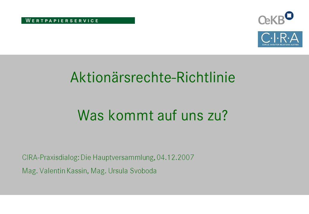 Aktionärsrechte-Richtlinie Was kommt auf uns zu