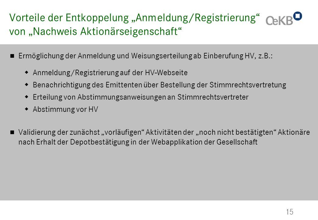 """Vorteile der Entkoppelung """"Anmeldung/Registrierung"""