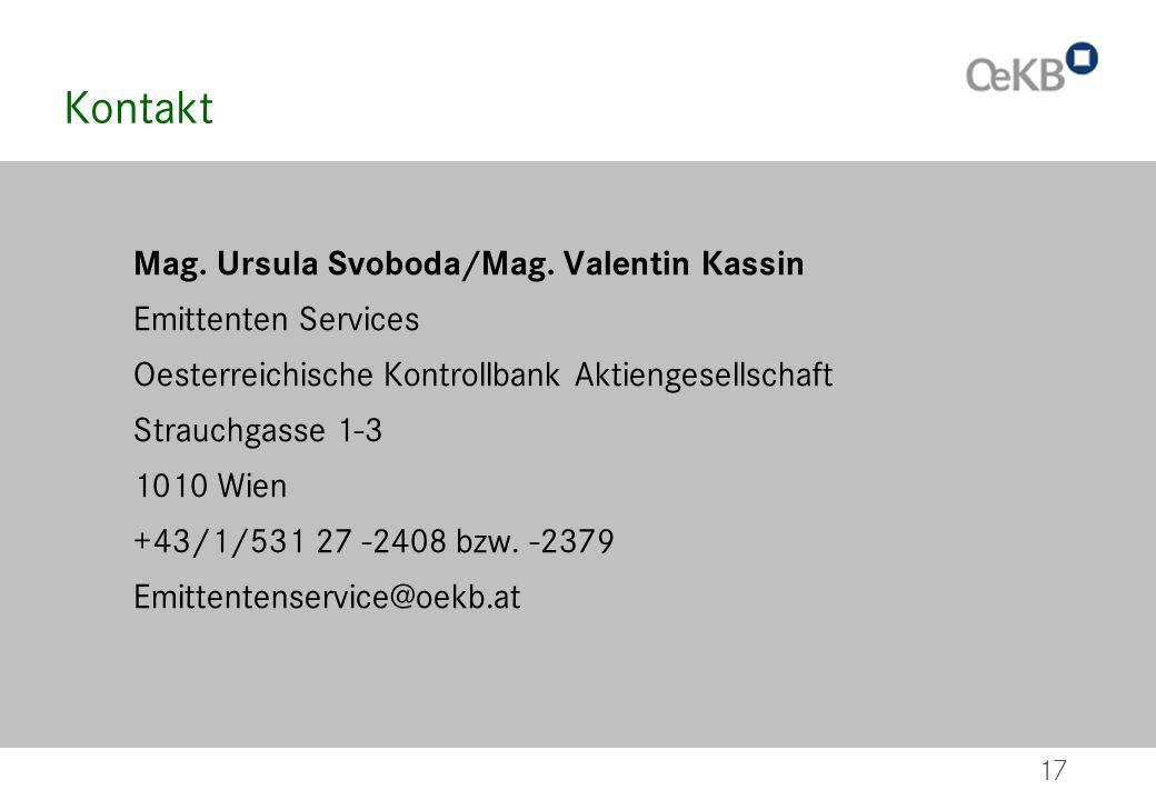 Kontakt Mag. Ursula Svoboda/Mag. Valentin Kassin Emittenten Services