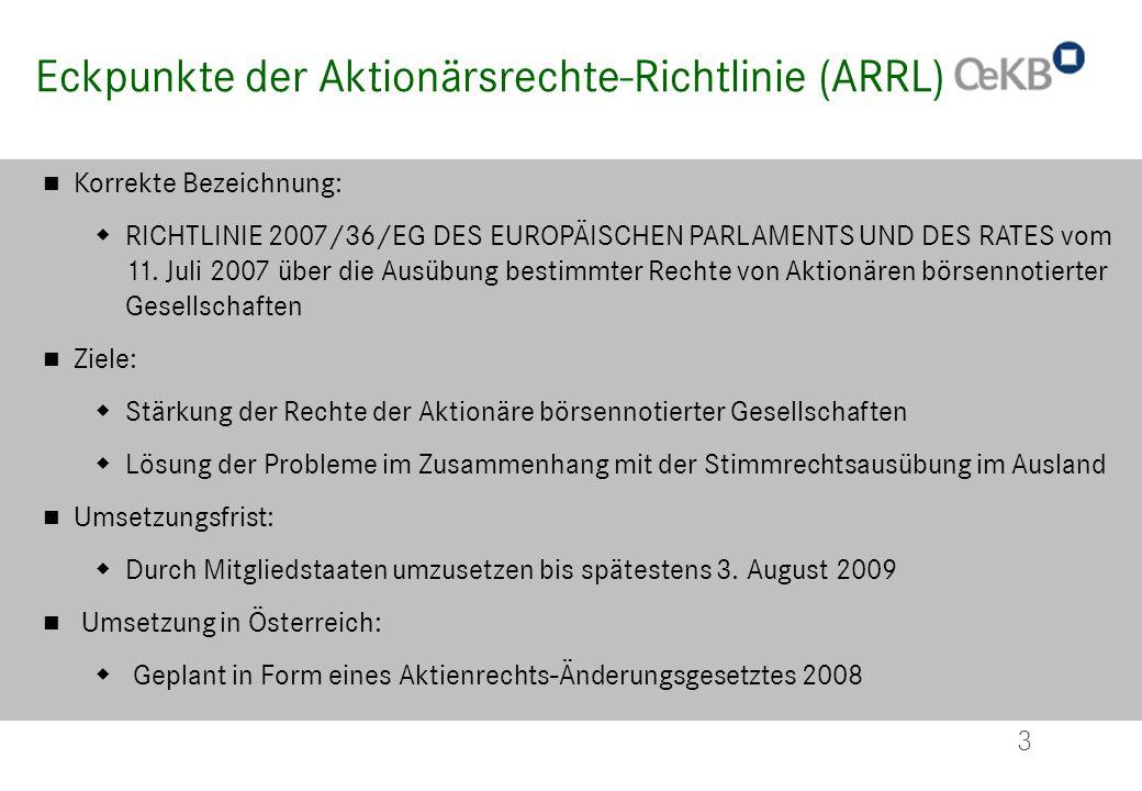 Eckpunkte der Aktionärsrechte-Richtlinie (ARRL)