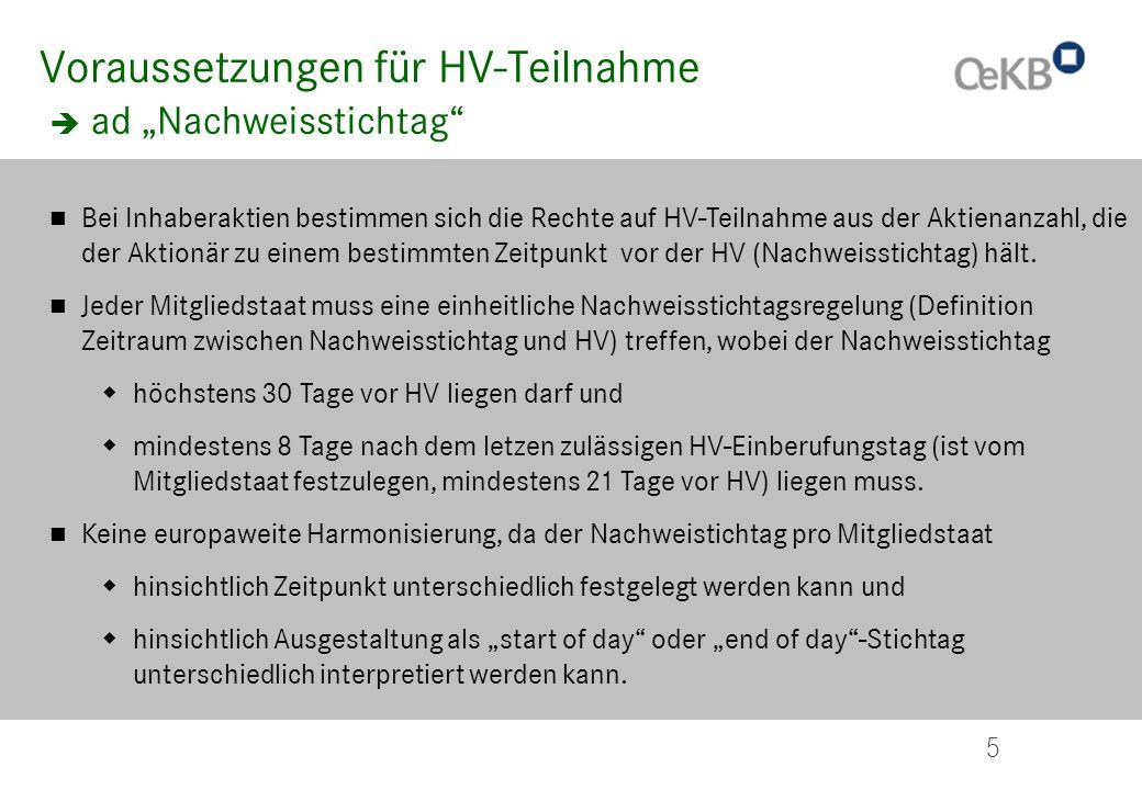 """Voraussetzungen für HV-Teilnahme  ad """"Nachweisstichtag"""