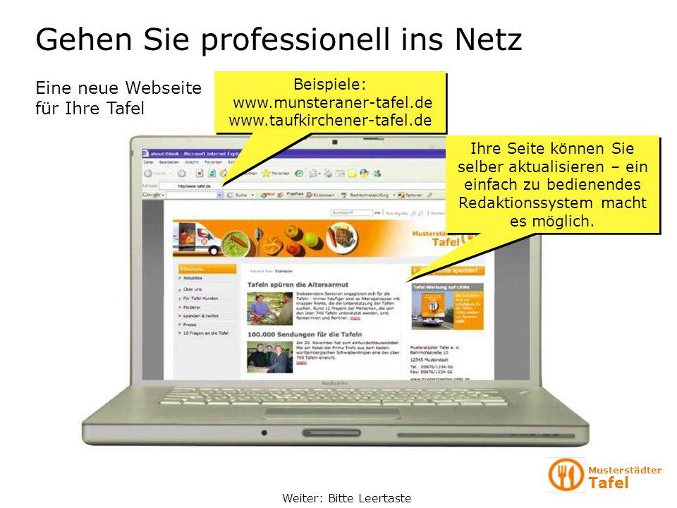 Gehen Sie professionell ins Netz