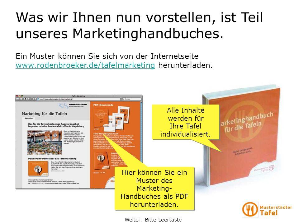 Was wir Ihnen nun vorstellen, ist Teil unseres Marketinghandbuches.