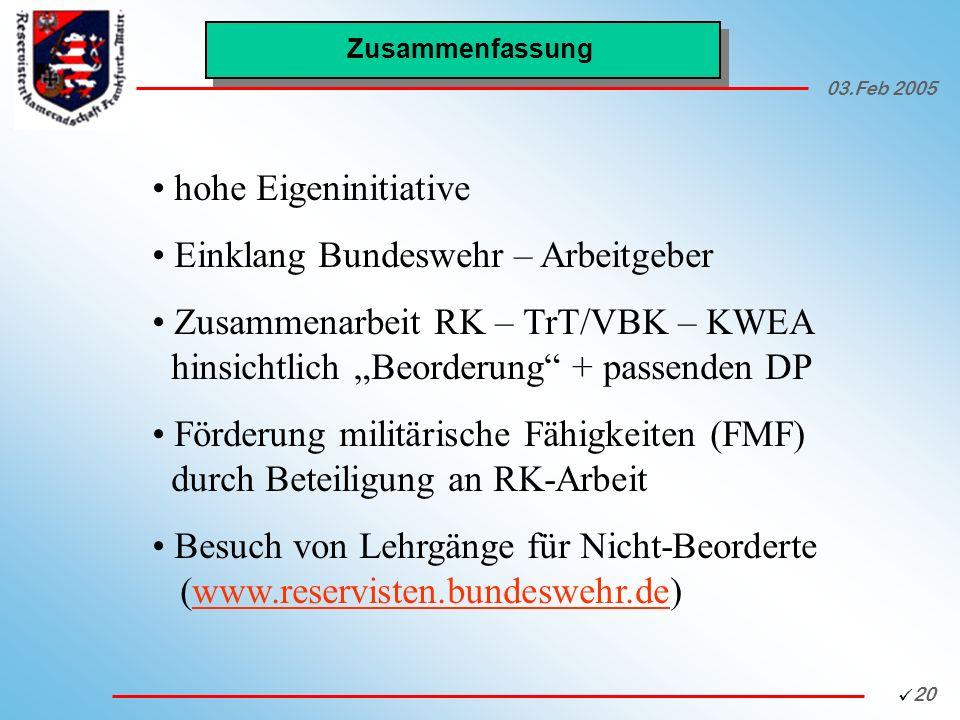 Einklang Bundeswehr – Arbeitgeber
