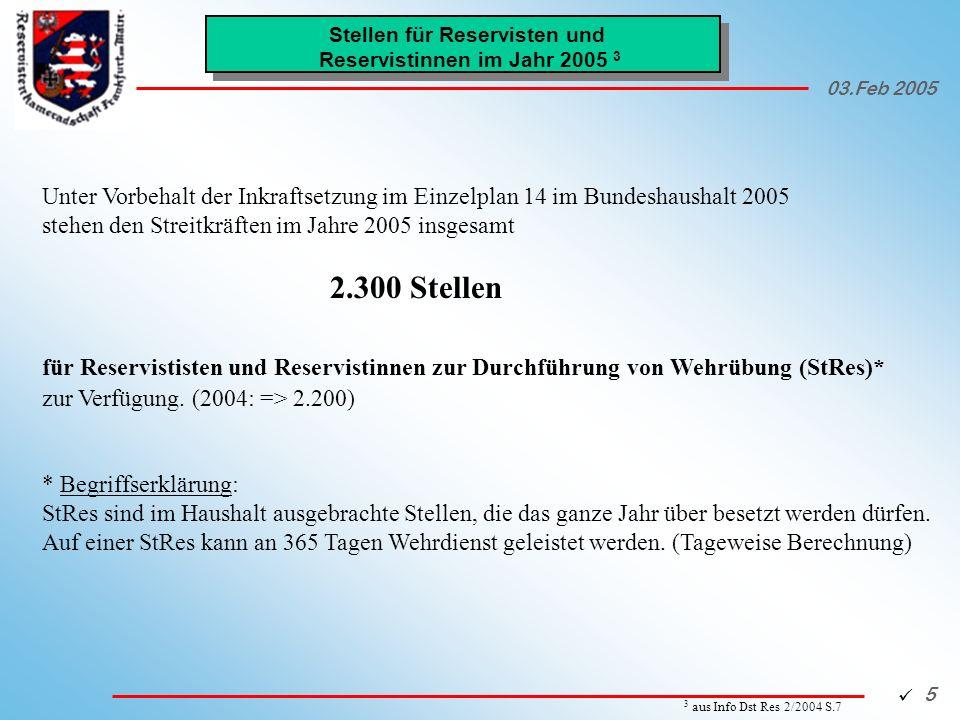 Stellen für Reservisten und Reservistinnen im Jahr 2005 3