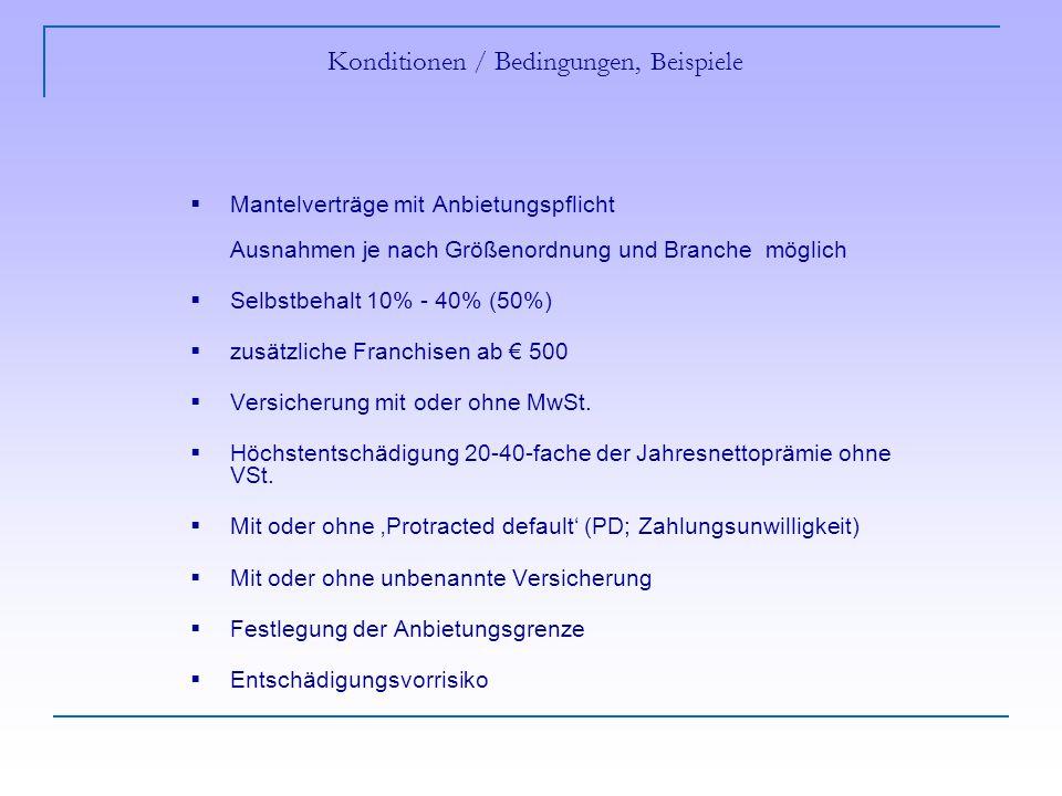 Konditionen / Bedingungen, Beispiele