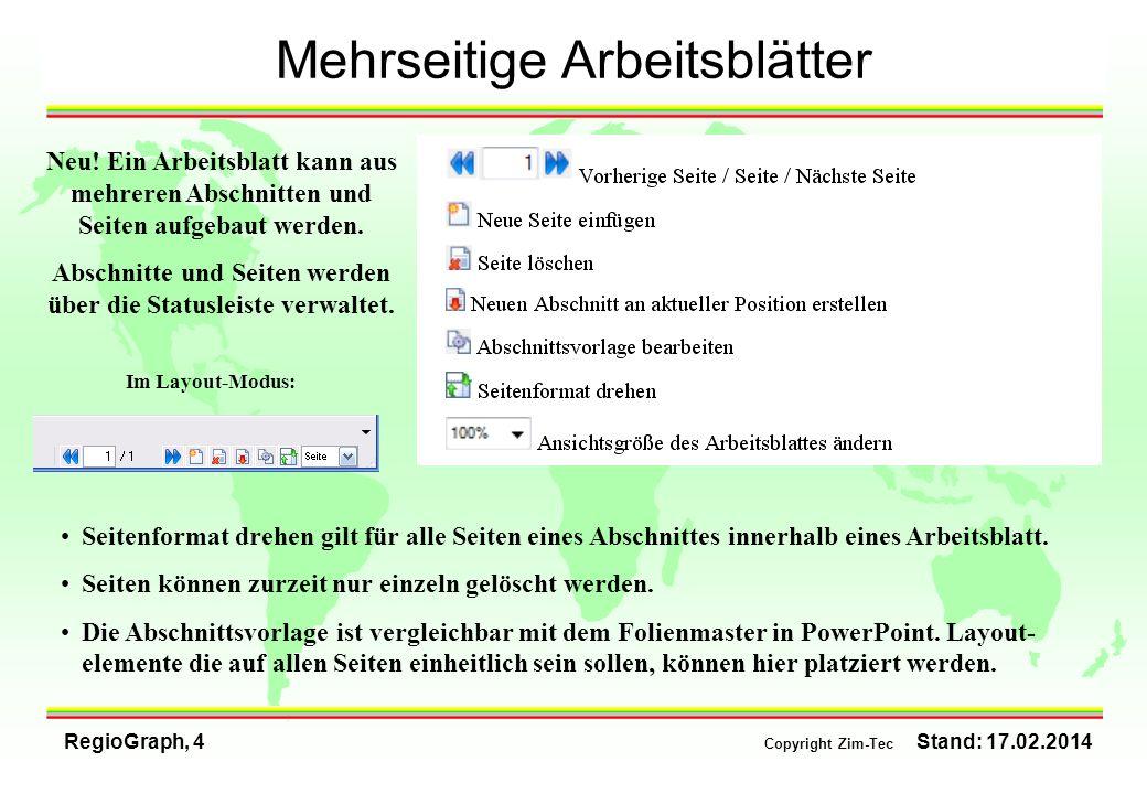 Abschnitte und Seiten werden über die Statusleiste verwaltet.