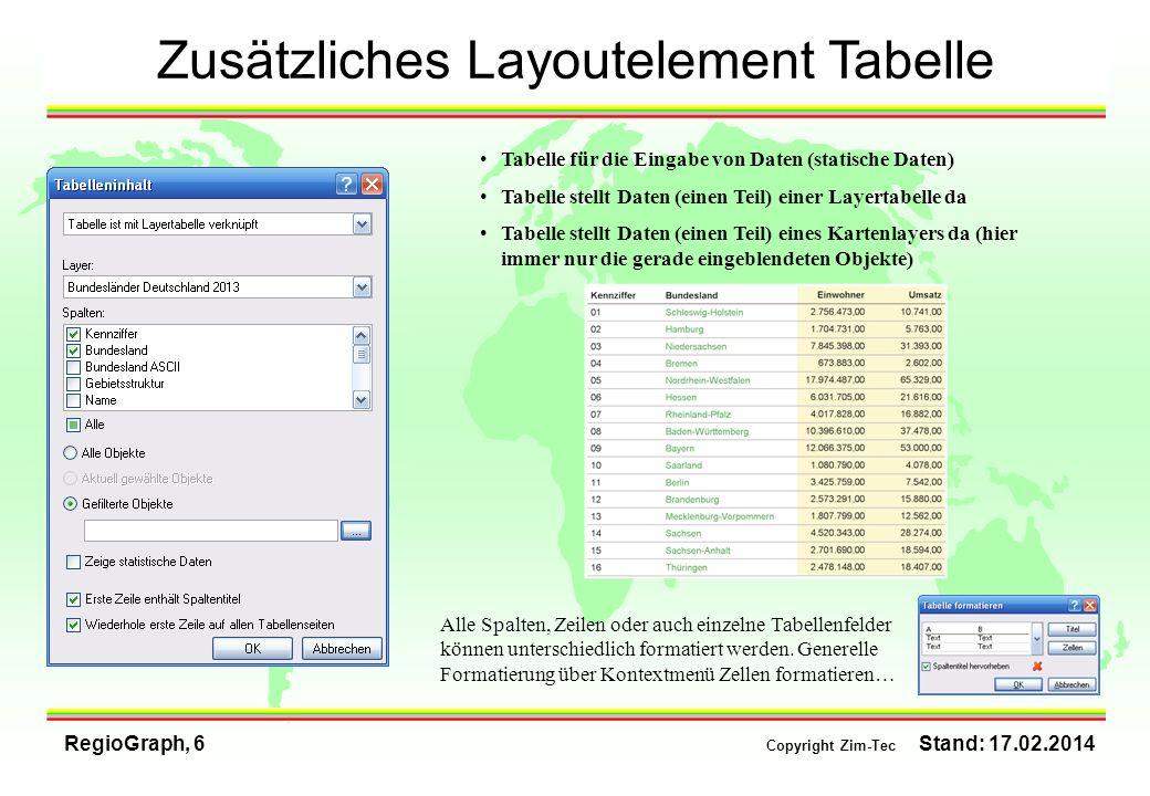 Zusätzliches Layoutelement Tabelle