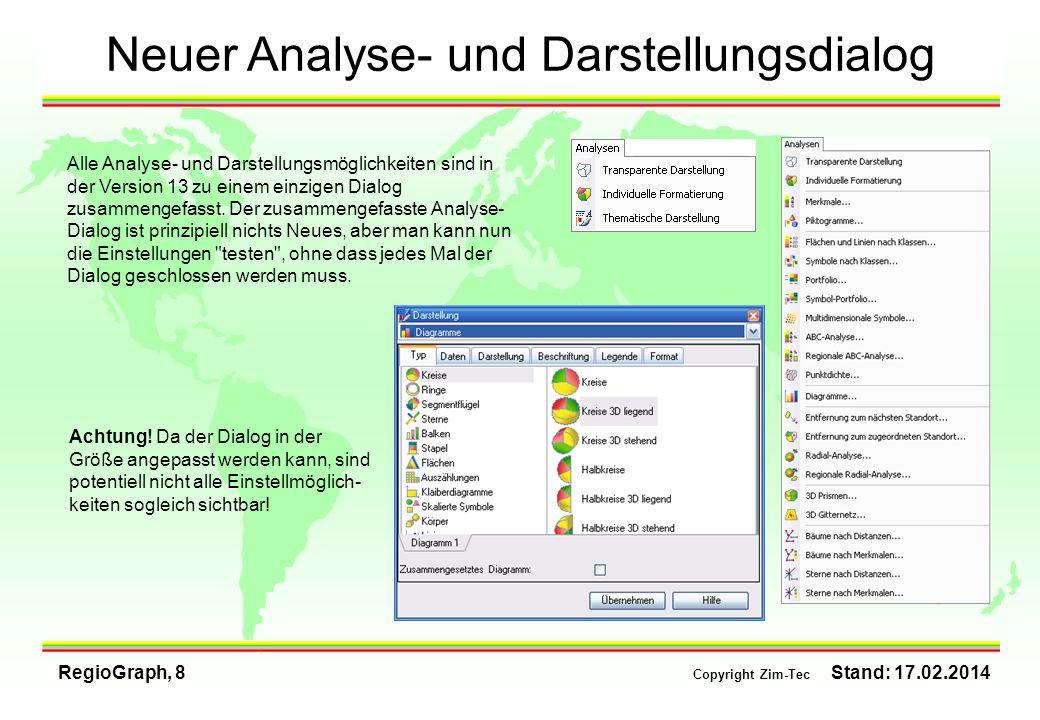 Neuer Analyse- und Darstellungsdialog