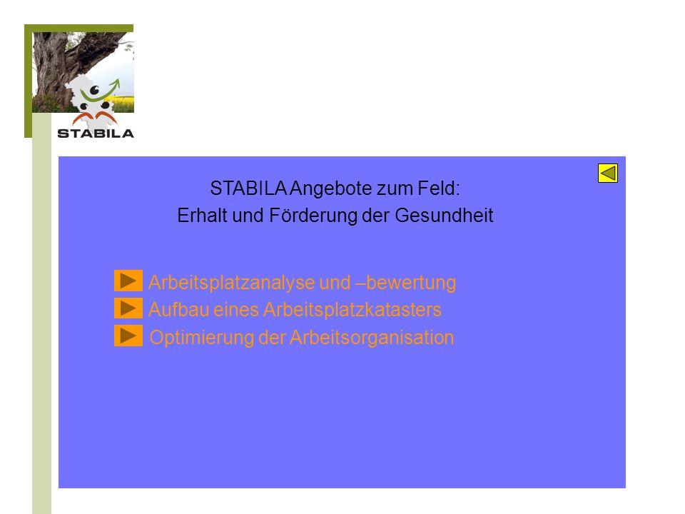 STABILA Angebote zum Feld: Erhalt und Förderung der Gesundheit